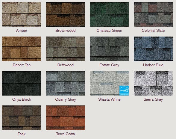 Different colors of shingles